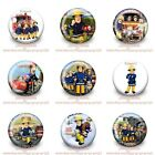 9-45PCS Fireman Sam Buttons Round Pins Brooch Badges 30mm as Kid Party Best Gift