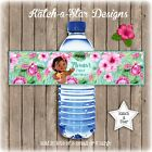 BABY MOANA 1ST FIRST BIRTHDAY PARTY PERSONALISED WATER BOTTLE LABELS x 5