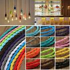 Multi Colour Braided 3 Core Twisted Fabric Light Cable Flexible Vintage Retro UK