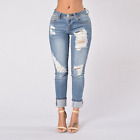 Women's Fashion HOT Skinny Ripped Jeans Curling Low Waist Little Leg Jeans