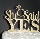 Plain or Glitter - She said Yes engagement ring - CARD Cake Topper