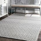 nuLOOM Geometric Hand Loomed Holcombe Grey Cotton Area Rug