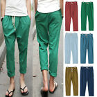 NEW Summer Mens Long Trousers Loose Linen Casual Slacks Straight Slim Fit Pants