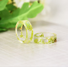 Handcraft Transparent Green Dried Flower Resin Ring US Size 6.5-11.5 Band Gift