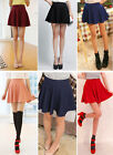 women Short Stretch high Waist Plain Skater Flared Pleated Mini Skirt R2