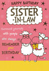 funny / humorous SISTER-IN-LAW happy birthday card - 2 x cards to choose from!
