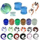 Glass Ear Plug - Flesh Tunnel Expander Stretcher - Spiral Taper CHOICE OF SIZES