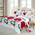 Bedding Set Red Roses Printed  Bedclothes Duvet Cover Bed Sheet 2 Pillowcases