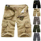 Casual Mens Cotton Summer Army Combat Camo Work Cargo Shorts Pants Trousers #U