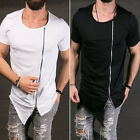 New Stylish Men Tops Tee Shirt Slim Fit Short Sleeve Solid Color Casual T-Shirt