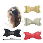 Newborn Baby Girl Synthesis Leather Ribbon Lined Clips Hair Bows Bowknot