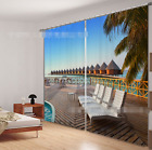 3D View Sea Blockout Photo Curtain Printing Curtains Drapes Fabric Window CA