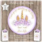MAGICAL FLORAL PURPLE UNICORN BDAY PARTY PERSONALISED ROUND GLOSS STICKERSx12