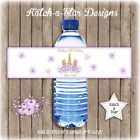 MAGICAL PURPLE FLORAL GOLD UNICORN BDAY PARTY PERSONALISED WATER BOTTLE LABELSx5