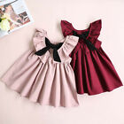 Toddler Kids Baby Girl Ruffled Sundress Backless Baptism Party Pageant Dresses