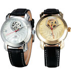 Unique Classic Women Automatic Leather Rhinestone Skeleton Men Mechanical Watch