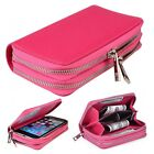 (Rose)Double Zipper Premium PU Leather Wallet Case Cover For Samsung Models