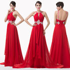 Long Beaded  Evening Formal Cocktail Dress Bridesmaid Wedding Red Prom Gown Ball