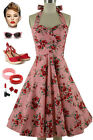 50s Style Eleanor Paige PINUP PINK & RED ROSE Floral Print HALTER SunDress