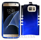 For Samsung Galaxy S7   edge - KoolKase Hybrid Case Silicone Two Tone BLUE Cover
