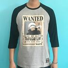 Anime One Piece-Wanted Law-Grey-3/4 Sleeve-Licensed T-shirt Clothing 100% Cotton