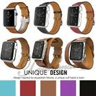 New Genuine Leather Wrist Bracelet Clasp Strap For Apple Watch Band 38mm/42mm