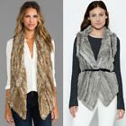 Women Genuine Knit 100% Rabbit Fur Vest Hot Gilet With Special Collar S-3XL New