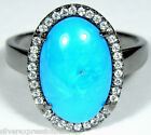 American Sleeping Beauty Turquoise 925 Sterling Silver Black Rhodium Ring sz 8.5