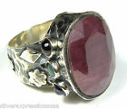 Genuine Natural Dark Ruby Gemstone 925 Sterling Silver Ring size 7 or 9