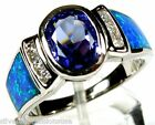 2.5 Carat Tanzanite & Blue Fire Opal Inlay Solid 925 Sterling Silver Ring Sz 6-9