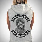 DAUGHTERS OF ANARCHY SLEEVELESS ZIPPED HOODIE BIKER HOODY GYM SONS OF ANARCHY
