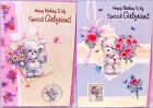"Glittered ""SPECIAL GIRLFRIEND""  Birthday Cards ~ Cute Bears With Flowers"