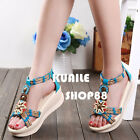Bohemia Style Women Sandals Open Toe T Strap Woven Roman Shoes Wedge Heel Size