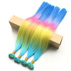 12s/Pack Rainbow Ombre Straight Synthetic I Tip Hair Extensions With Micro Beads