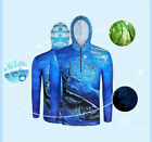 Long Sleeve Hooded Fishing Sun Shirt Men Quick Dry Breathable UV Protection Tops