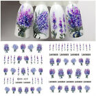 Spring Fresh Flower Water Decals Colorful Lavender Nail Art Transfer Stickers