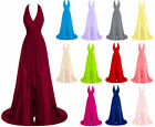 Long V Neck Chiffon Prom Dresses Bridesmaid Evening Formal Party Gown Stock