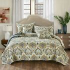 Tache Paisley Green Blue Spades Quilted Bohemian Coverlet Bedspread Quilt Set image