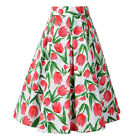 Rose print Women Pleated Midi Skirt with Pockets 1950s Pinup Swing Floral Skirts