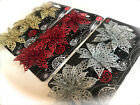 3 Glitter Flowers Christmas Decorations Poinsettias Gold Silver Red Xmas Garland