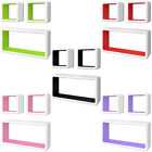 3 MDF Floating Cubes Wall Storage Book CD Display Shelves Square 5 Colours✓