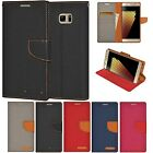 For Samsung Galaxy Note FE Hybrid Canvas Flip Wallet Case Credit Card Slot Cover