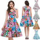 1950s A-line Swing Vintage Dress Housewife Pinup Evening Party Floral Lady Dress