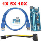 Lot USB 3.0 PCI-E Express 1x To 16x Extender Riser Card Adapter Power BTC Cable