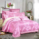 Pink Rose Floral Satin Jacquard Egyptian Cotton Queen King Size Quilt Cover Set