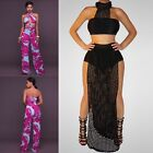 Women's Strapless 2 Pieces Outfits Dress Jumpsuit Crop Tops and Long Pants Set