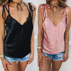 New Silk-like Trim Strappy V Neck Loose Cami Party Top Vest Blouse Camisole