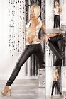 women's Low Rise Leather Look Skinny Jeans Slim Trousers Slim Style 6,8,10,12,14