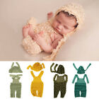 Infant Baby Girls Boys Knit Crochet Romper Hat Photo Photography Props Outfit