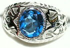 Men's 2.5c Genuine Swiss Blue Topaz Stainless Steel or Sterling Ring